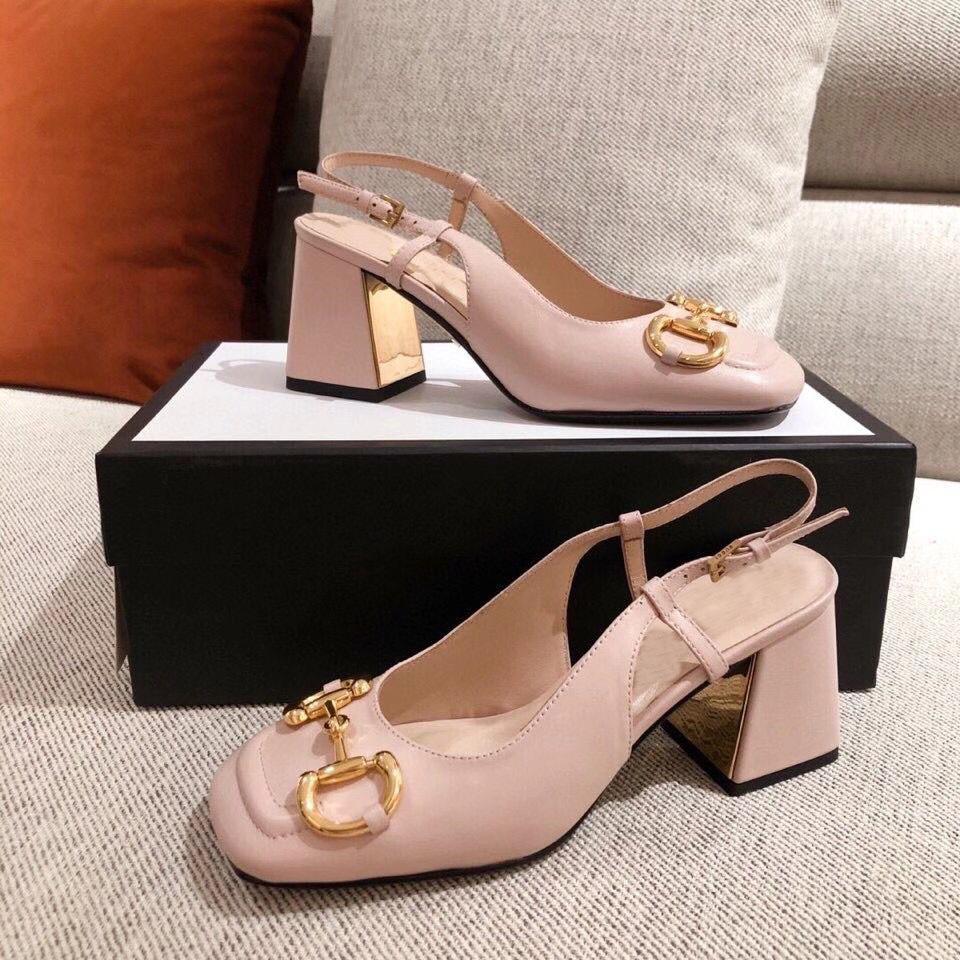 2021 Yeni Klasik Sonbahar Ve Kış Serisi Moda Mizaç Enerji Kadın Ayakkabı Donanım Tasarım Klasik Deri Ayakkabı ile Yüksek Topuklu 7 cm