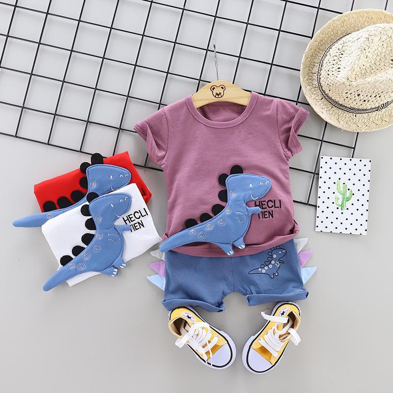 Jungen Kurzarm Anzug 0-4 Jahre alt Baby Kurzärmelige Kinder Sommerkleidung Cartoon Baumwolle Dinosaurier Zweiteiliger Großhandel