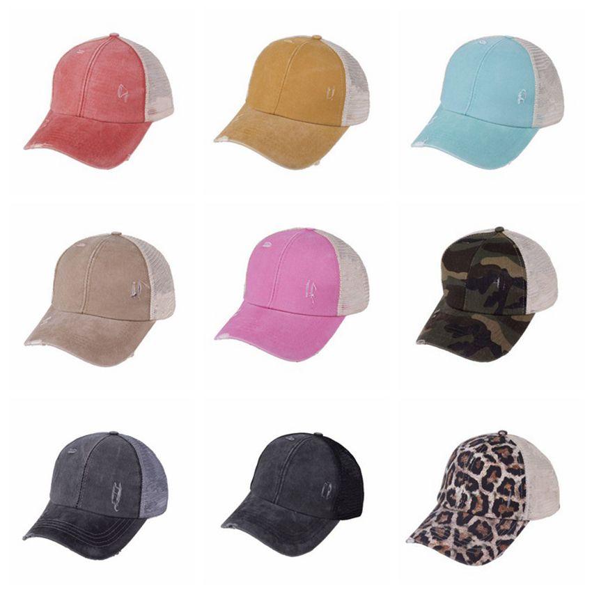 Sombreros de cola de caballo Snapbacks 9 colores Lavado malla espalda leopardo camo hueco desordenado moño béisbol gorra camionero sombrero cyz3153