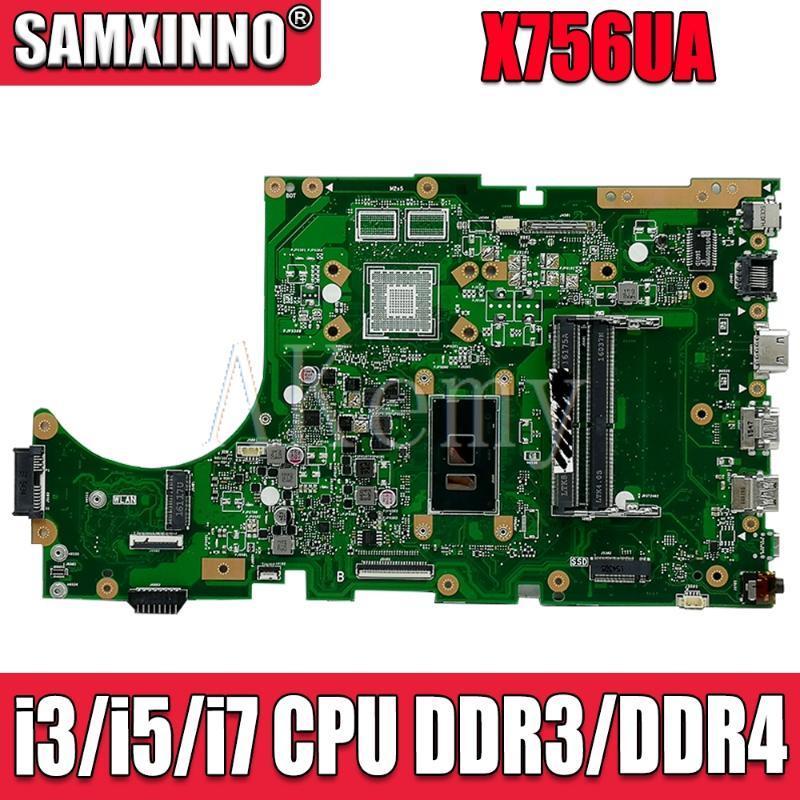 For Asus X756UA X756UAK X756UAM X756UV X756UJ X756UQK X756UVK Loptop Motherboard Mian Board Mainboard W/ I3// CPU Fans & Coolings