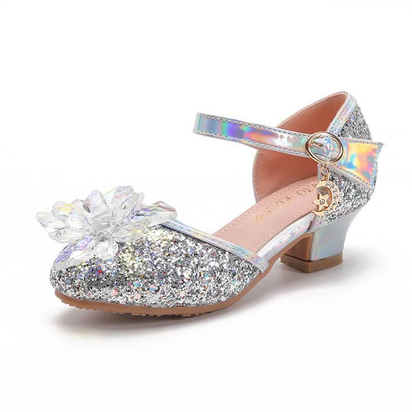 بنات الصنادل أطفال أحذية طفلة الأطفال الأحذية الصيف الأميرة الترتر عالية الكعب الأحذية زهرة كريستال حزب الزفاف B6569