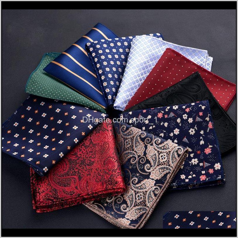 Homens de luxo lenço de lenço de bolinhas listrado Floral Impresso Hankies Poliéster Hanky Bolso Bolso Toalha de Peito Quadrado 23 * 23cm 1E2ET 8Pr9k