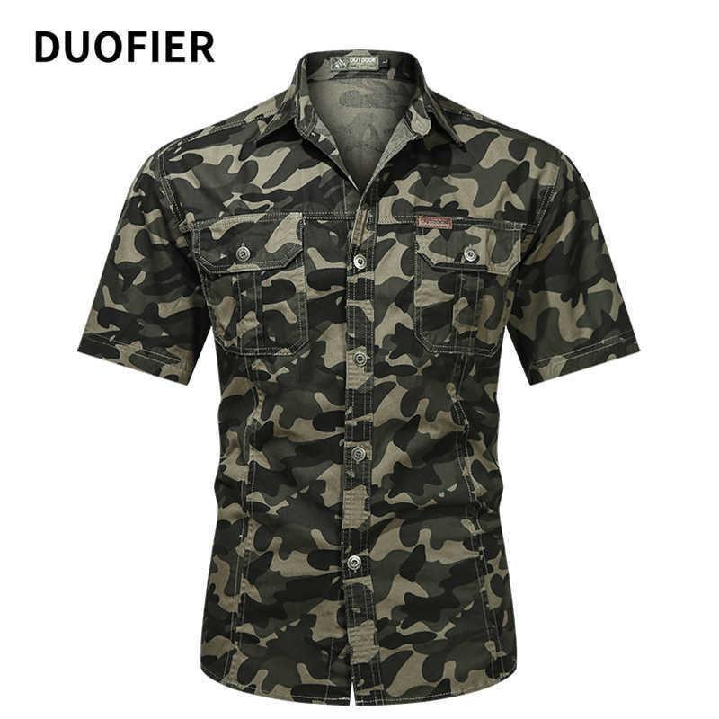 Herren Tarnung Taktische Hemd Kurzarm Reverse Kampfthemd Militärarmee Uniform Camo Mann Outdoor Wandern Jagd Hemden 5XL 210603