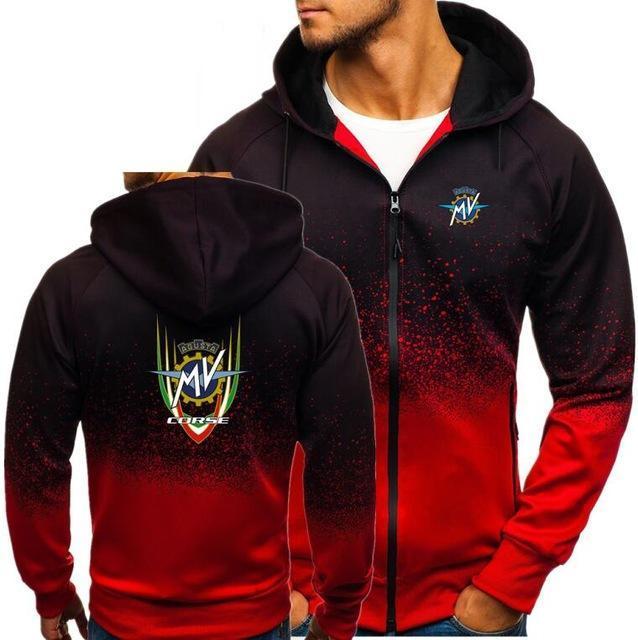 Men's Hoodies & Sweatshirts 2021 Sweatshirt Men Zipper Gradient Color Tops Autumn MV Agusta Corse Print Mens Hooded Jacket