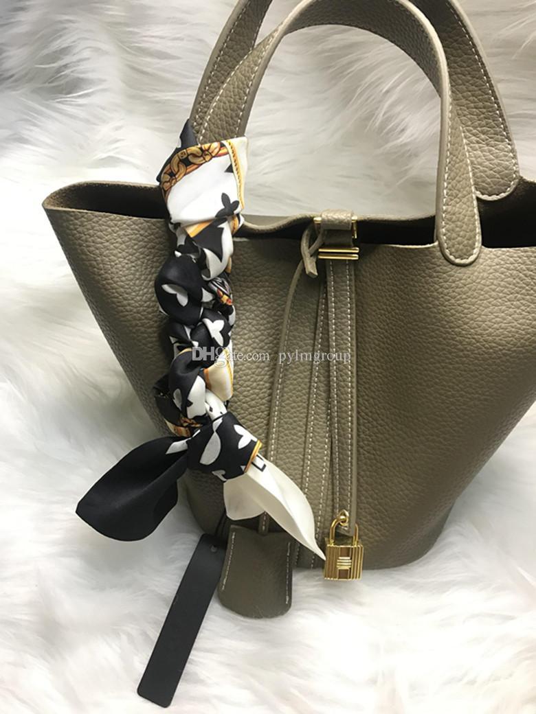 Silk Scarf handbags scraf Scarves for bags women letter flower top grade hair band wholesale Hats handle Gloves Wraps Muffler USA EUR