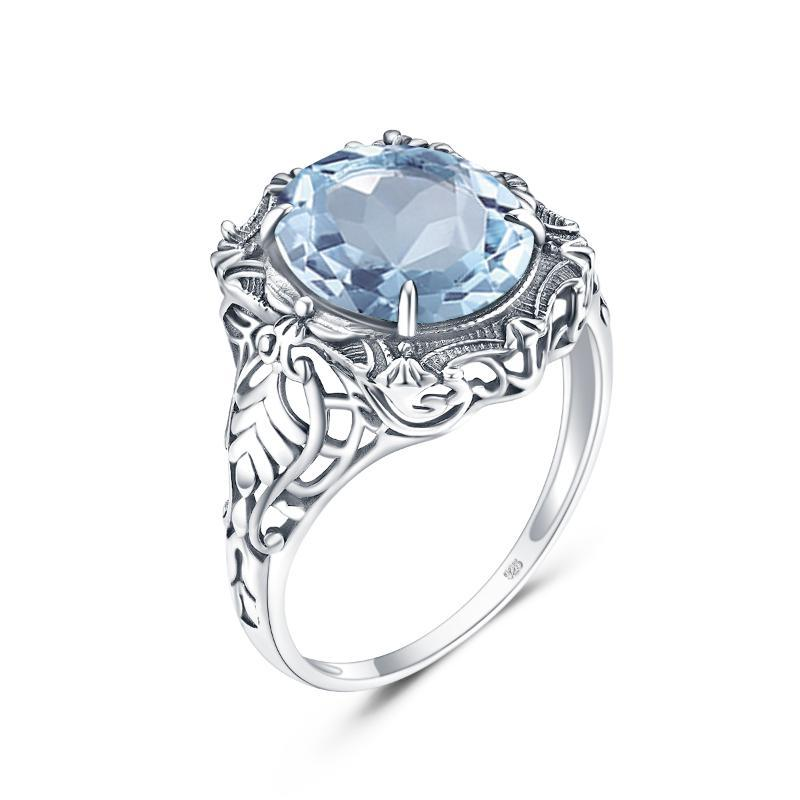 Cluster Rings 925 Sterling Silver Ring Fine Women Vintage Big Aquamarine Oval Gemstone 2021 Jewelry Gift