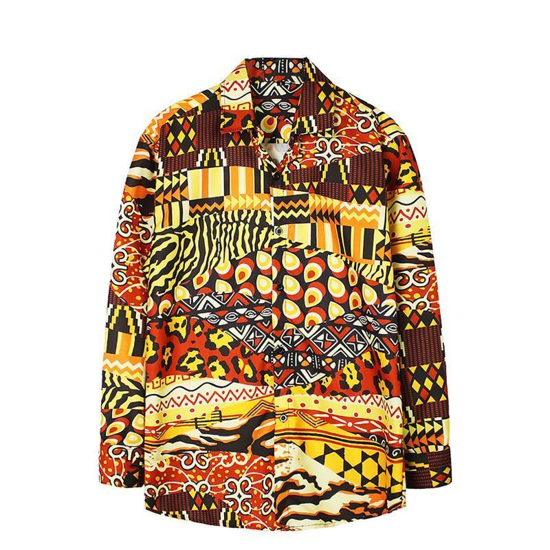 패션 인쇄 셔츠 남자 긴 소매 품질 블라우스 탑 캐주얼 Camisa estampada masculina 소프트 ropa hombre # 3 남자 셔츠