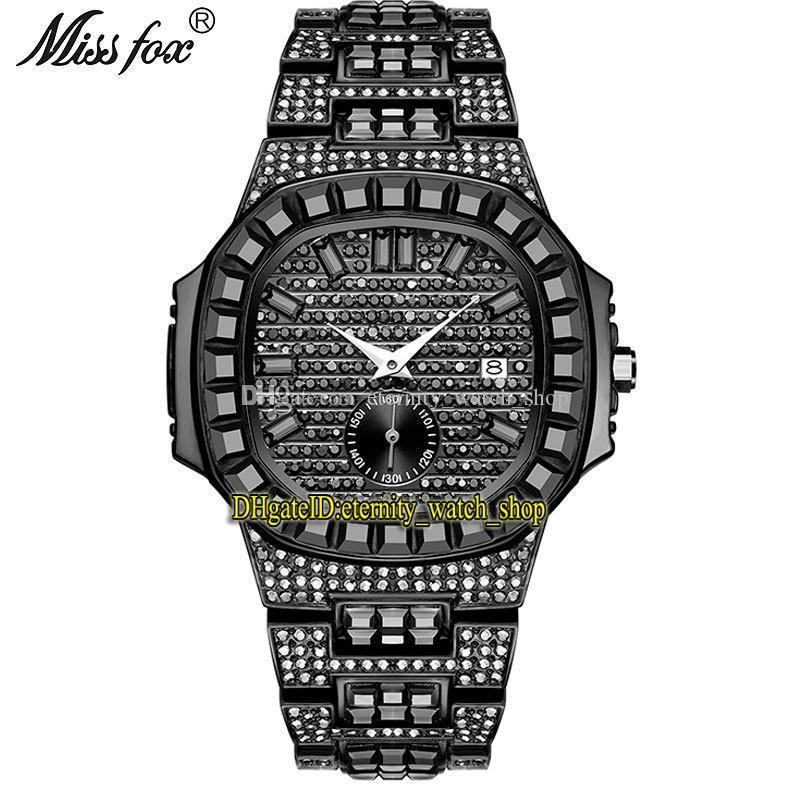 MissFox Eternidade V299 Hip Hop Moda Mens Mens Relógios CZ Diamond Inlay Dial Movimento de Quartz Homens Assista Gelado Grande Diamantes Bezel Liga de Bezel Case Pulseira Preto