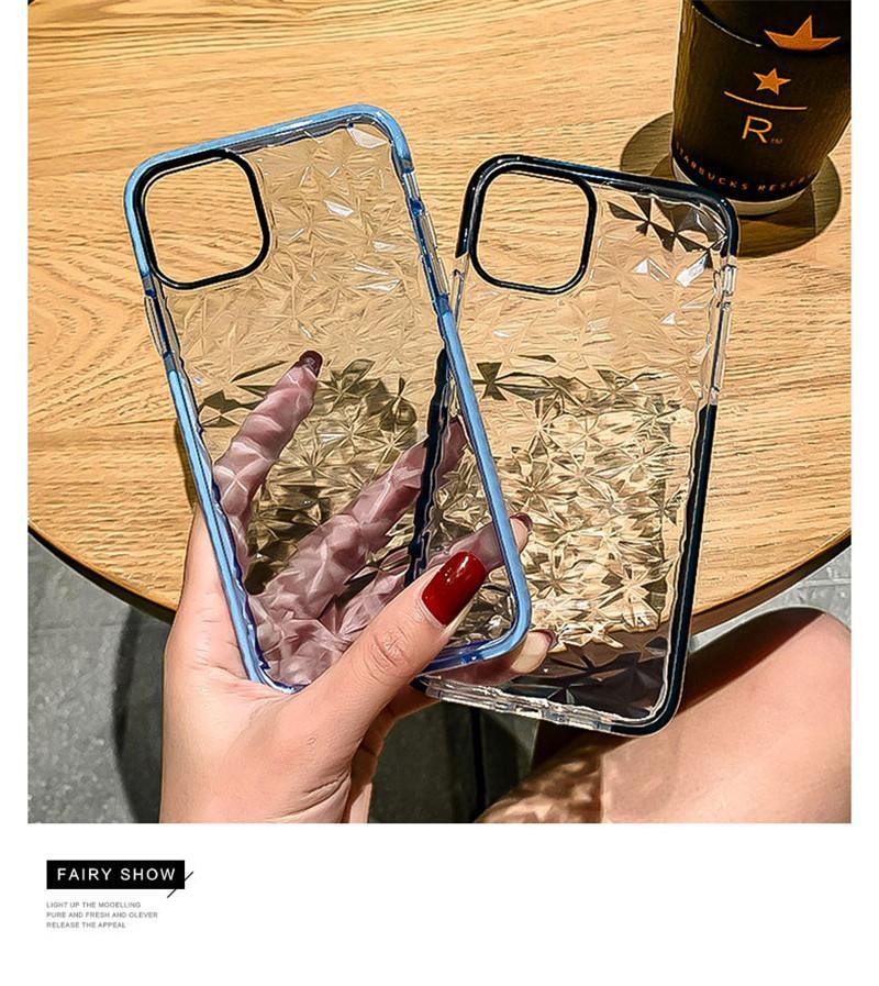 Texture de diamant Texture transparente Cas de téléphone Soft pour iPhone 12 11 Pro Max Mini XR XS X 7 8 Plus SE 2 Silicone Couverture claire
