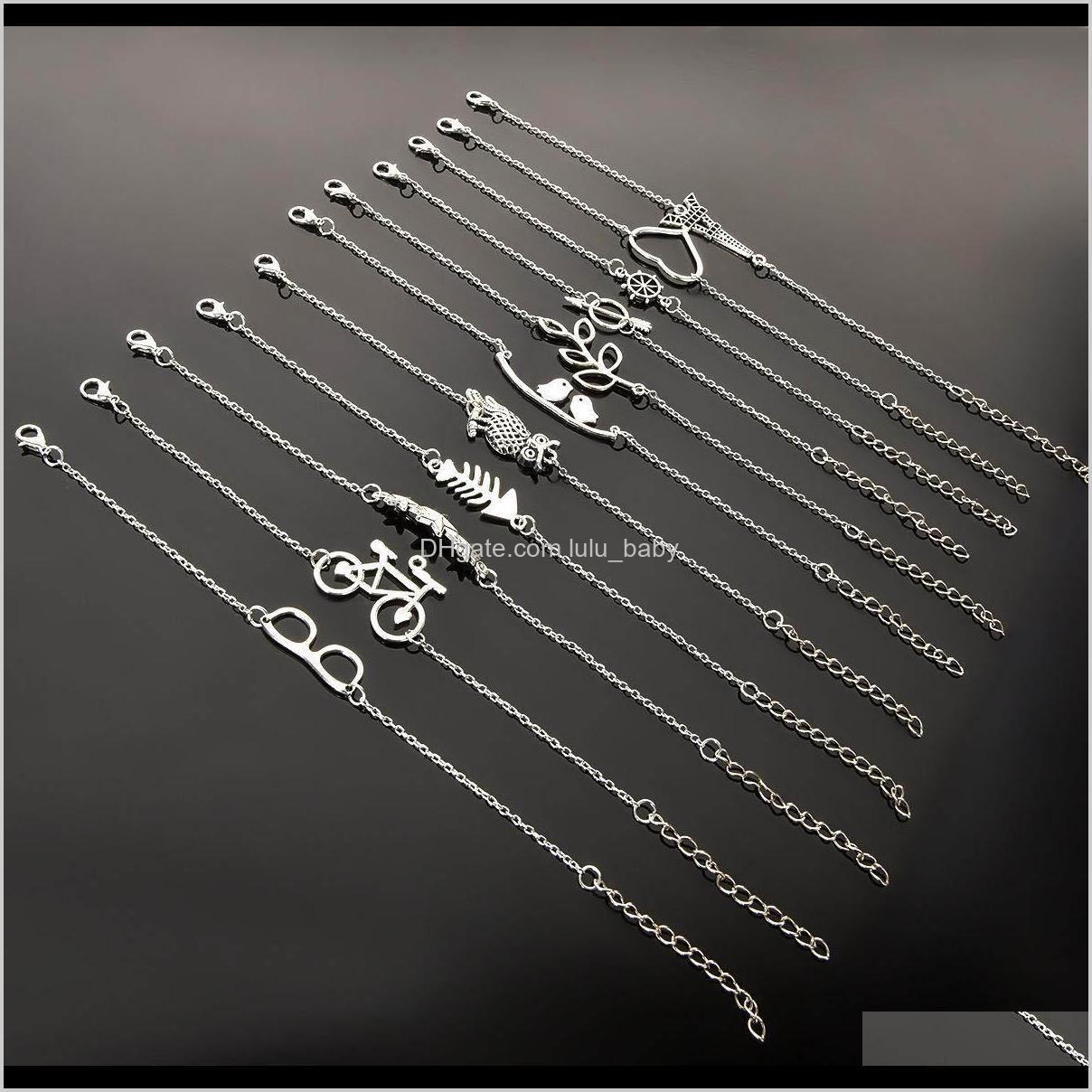 بسيطة الرجعية الكاحل سوار سلسلة الحب البومة ريشة handcuff دراجة نجمة خلخال سحر الأزياء والمجوهرات للنساء إسقاط q2z6j الخلخال 5mknx