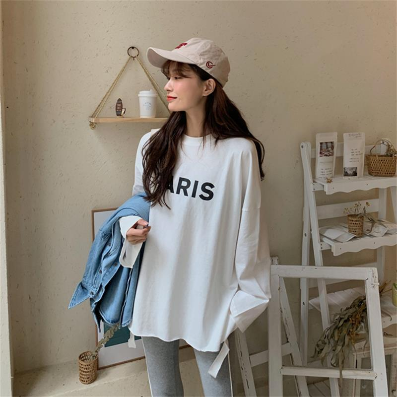 Women's T-Shirt 2021 Autumn Loose Printed Letters Harajuku All-match Bottoming Long-sleeved White Tops Women T Shirts