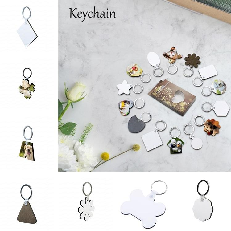 열 전송 빈 나무 열쇠 고리 MDF 키 체인은 사진을 인쇄 할 수 있습니다 창조적 인 열쇠 고리 패션 액세서리 9138
