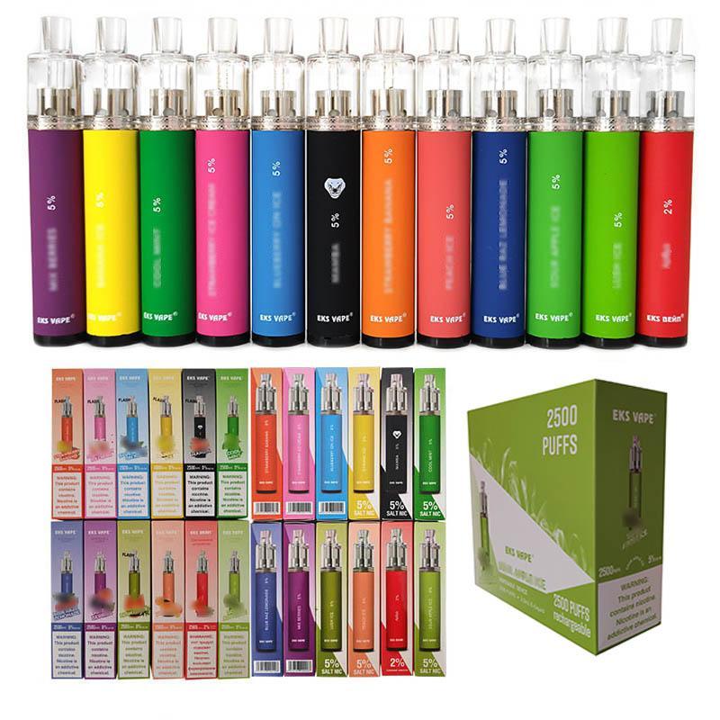 Boa qualidade eks eletrônico cigarro conduziu luz claro pod 650mah kit vapor vaporizer caneta de vape descartável
