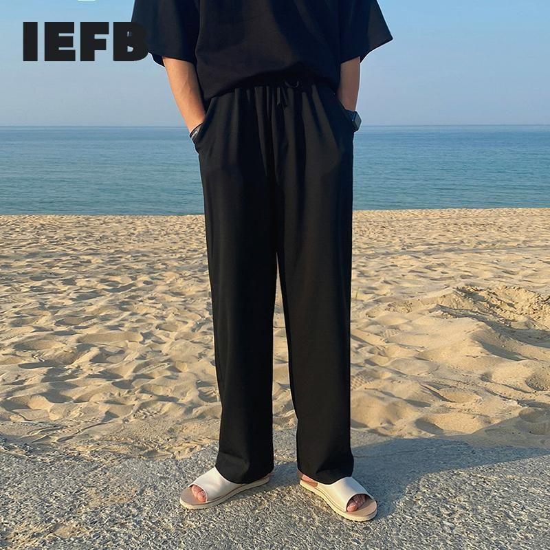 Calças masculinas iefb gelo seda 2021 verão fino coreano moda casual perna larga solta reta preta cintura elástica calças