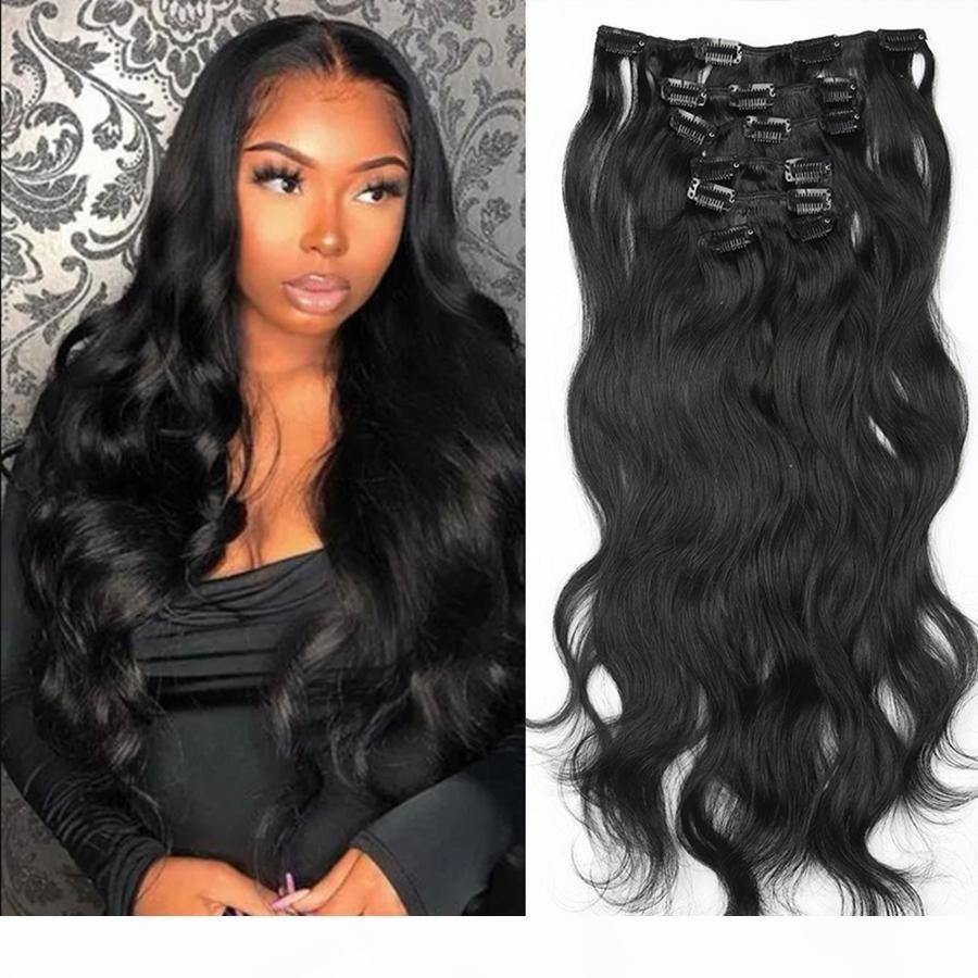 Pince à 100% de cheveux humains pour les extensions de femmes noires Pince à ondes corporelles Naturel Noir Couleur 7 pièces et 120g Set Remy Cheveux Brésiliens