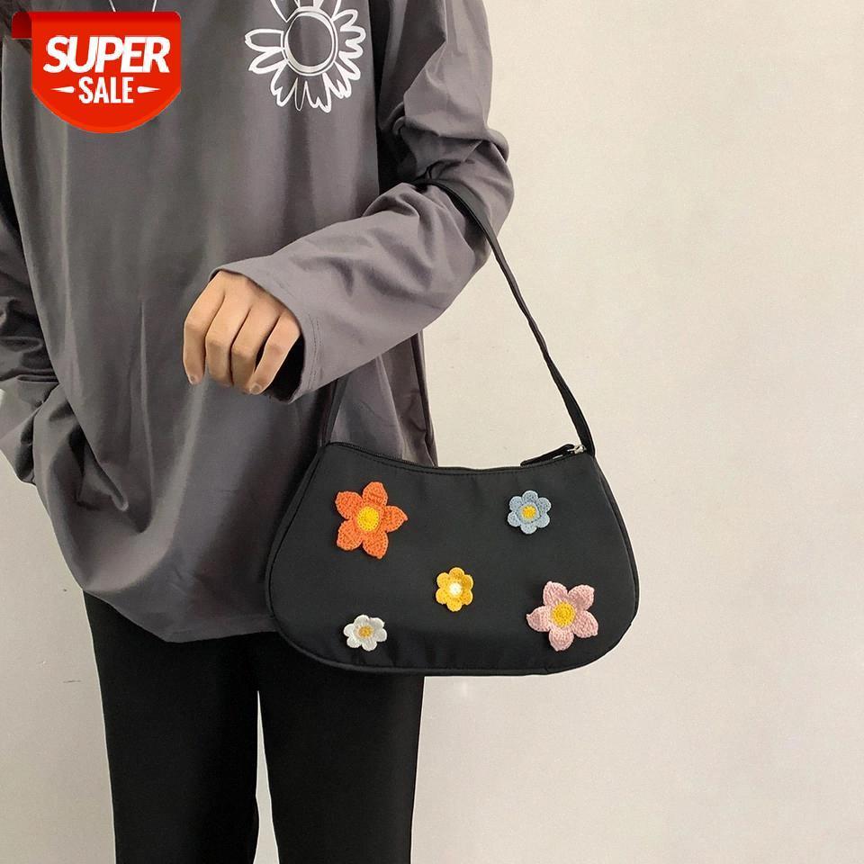 Frauen Student Beliebte Underarm Tote Tragbare Tasche Lässig Weibliche Bedruckte Handtaschen Schulter Einfache Blume Daily Bag # A66X qlgtg