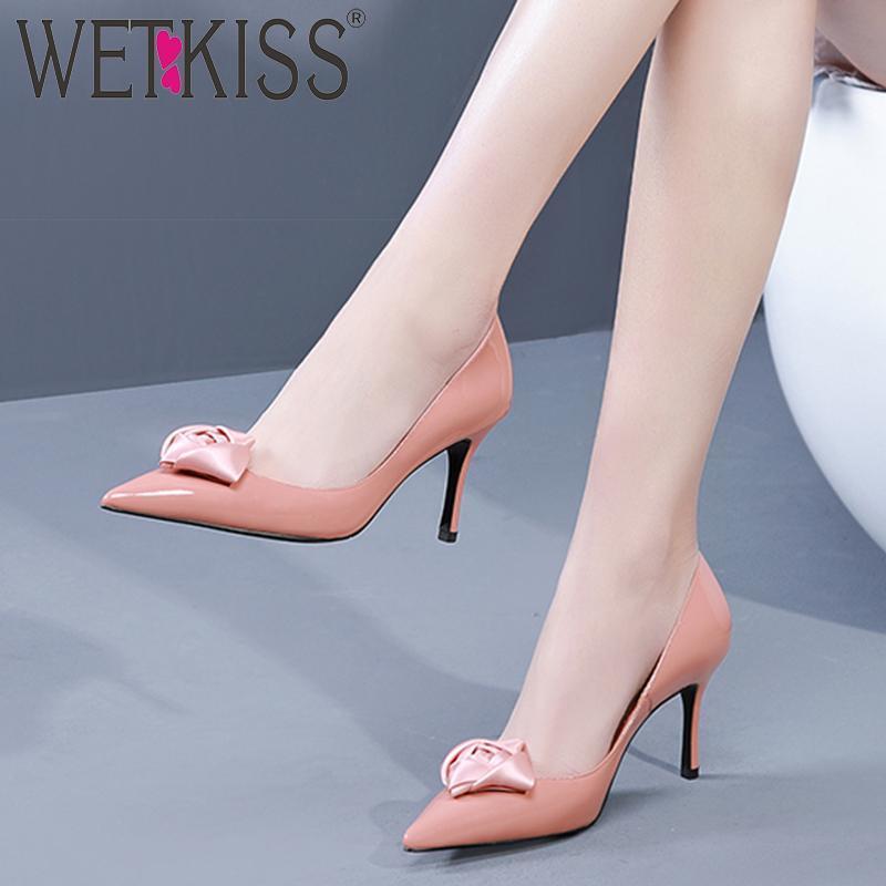 Bahar Patent Deri Pompalar Kadın Sivri Burun Ayakkabı Yüksek Topuklu Ayakkabı Kadın Sığ Parti Kadın 2021 Elbise
