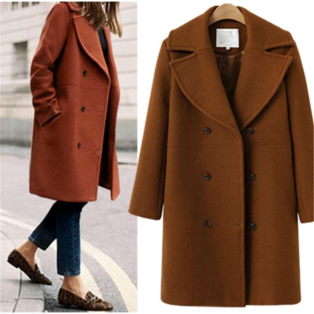Yün sonbahar ve kış büyük kadın orta boyu rüzgarlık yün palto