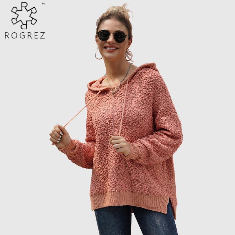 Frauenpullover Rogrez Rote Mode Straße Outdoor Mit Kapuze Pullover Frauen Pullover Gestrickte Baumwolle Lose Herbst Winter