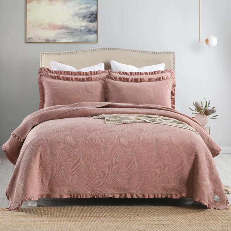 Bettdecken Sets Qualität Sandwäsche Bettsdecken Baumwolle Quilt Set 3 stücke Gestickte Quilts Spitze Bett Abdeckung Shams König Königin Quilted Coveret Cha