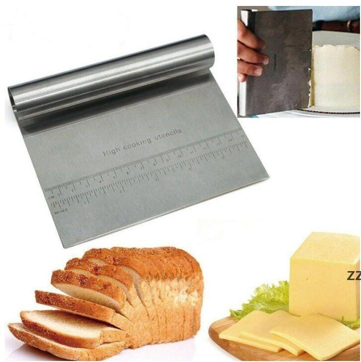 Stainless Steel Bench Scraper Pizza Dough Cutter Cutting Tools Measuring Guide Kitchen Tools Thickened Noodle Knife Kitchen Supplie HWE8849