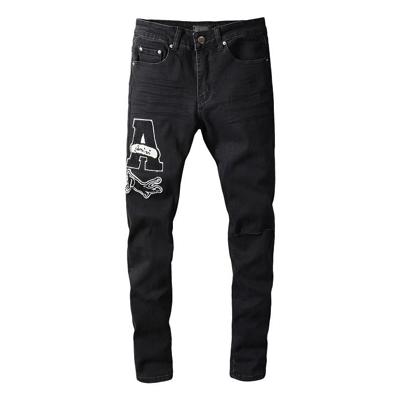 Мода тощий значок черный мужские джинсы повседневные маленькие ноги джинсовые брюки тонкий хип хмель Джинс отбор высокого качества размером 28-40