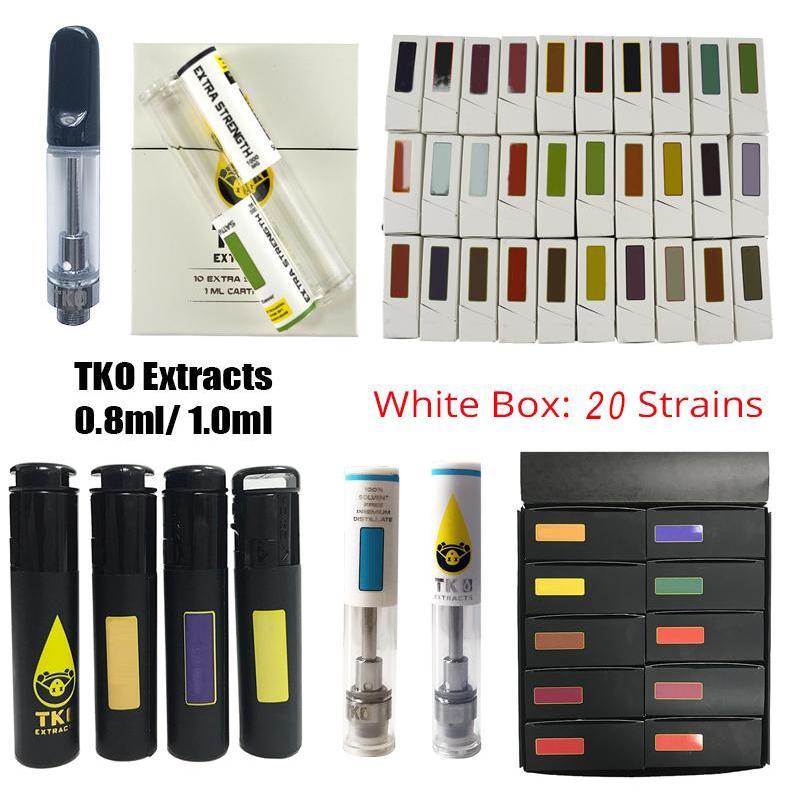 TKO 추출물 소스 vape 카트리지 포장 포장 0.8ml 1ml 분무기 세라믹 오일 빈 펜 카트리지 나사 팁 510 스레드 전자 담배