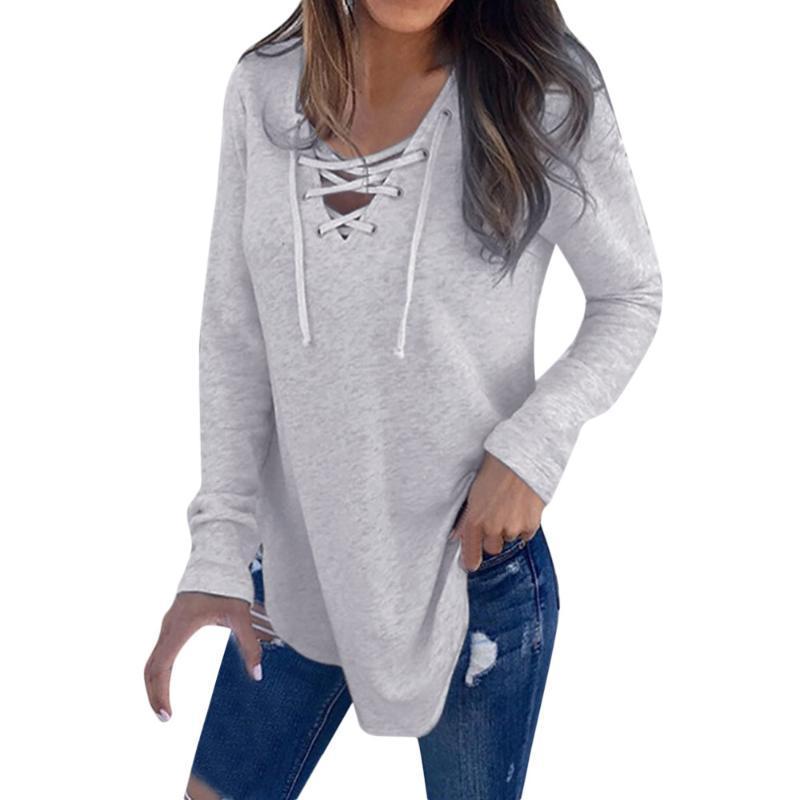 Dropship Spring Bouse Mujeres V Cuello de manga larga Camisa de la camisa Sólido Top Otoño Lino suelto Casual Sport Girls Blusa completa 0309 Blusas de las mujeres