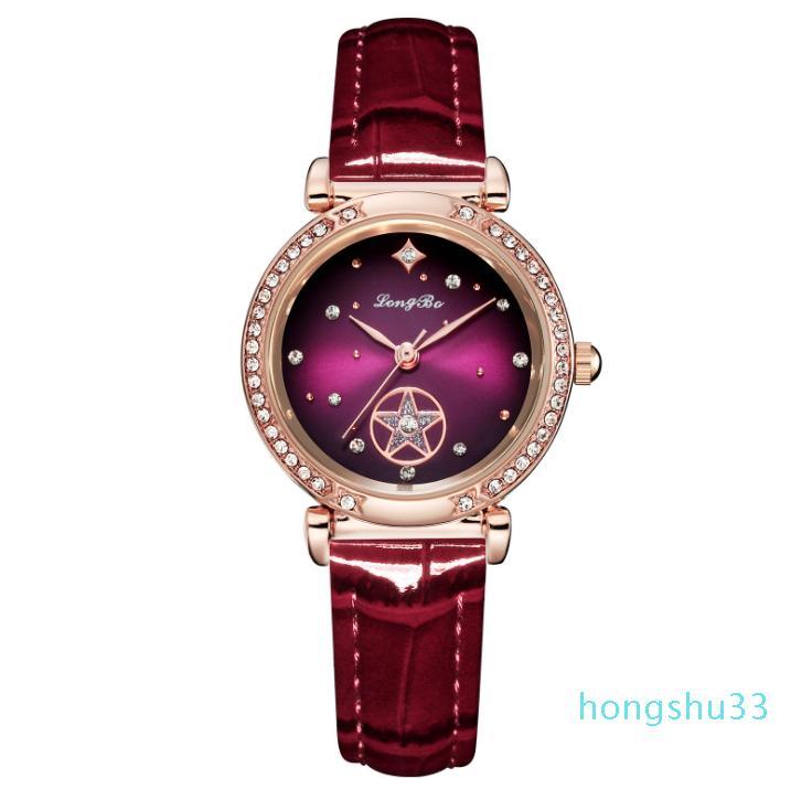 Prestige Longbo Rose Gold Case Belle dames Quartz Montre Diamant Nuit Starry Cadran Délicat Womens Montres Elegante Girls Bracelet
