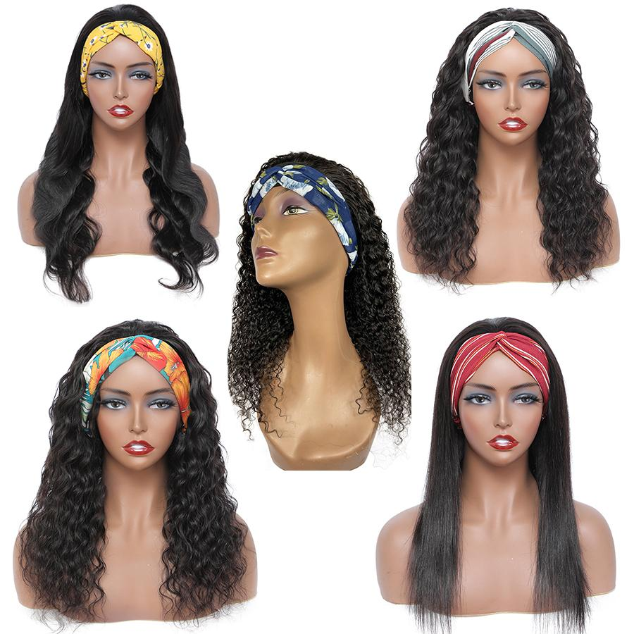 Wholesale Headband Wig Human Hair Vendor Body Deep Water Wave for Black Women Straight Afro Kinky Curly None Lace Machine Made Wigs Brazilian Cuticle Alinged Hairs