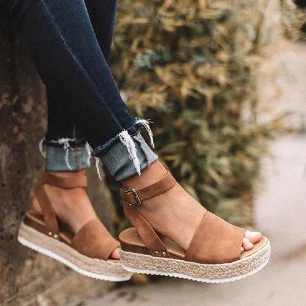 2019 Womens Espadrilles Alpargatas Grand Taille Sandales léopardes Femmes Plate-forme Été Été Épais Bas Sandales Sandales Femmes Chaussures J1KD #