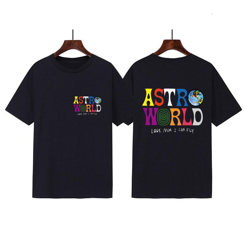 Espero que você esteja aqui Travis Scott T-shirt dos homens moda impressa preta manga curta casual top vvhz