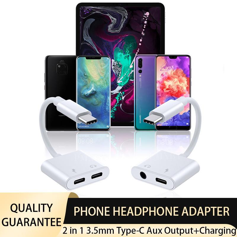 2 in 1 USB C/Type-C to 3.5mm Aux Headphones Jack Adapter Splitter Cell Phone Charging Adapter for Huawei Google