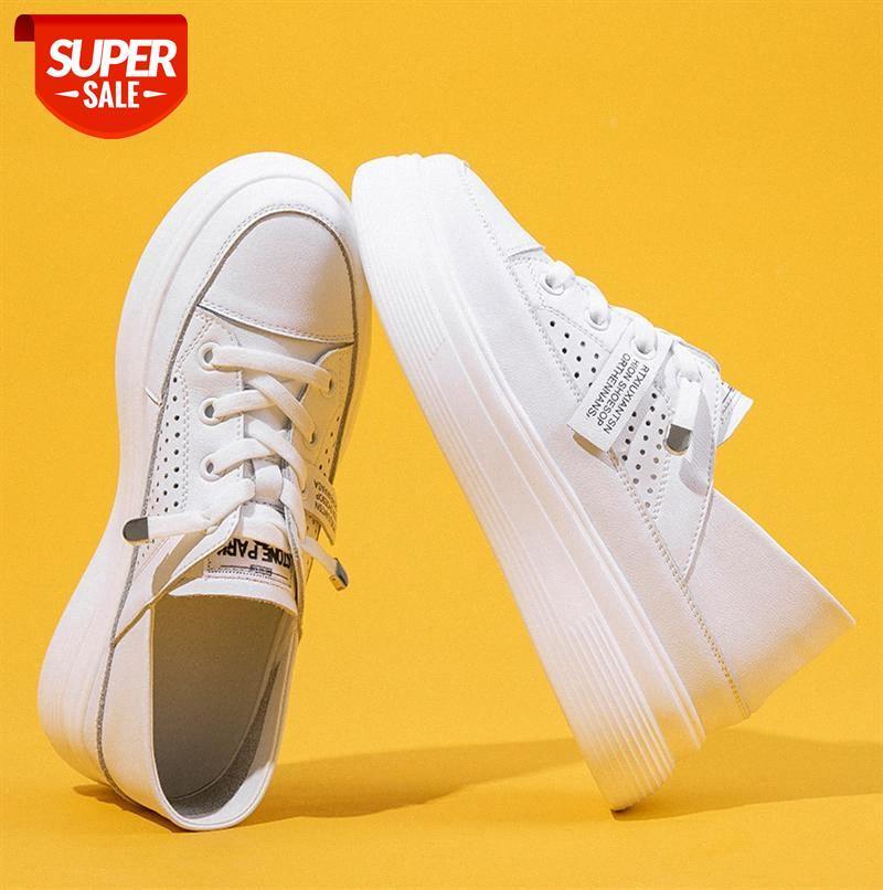 Echtes Leder weiße Schuhe weibliche koreanische Version des wilden Zwei-Wear-Boards flache lässige Frauen-Einzelschule # Zc9y