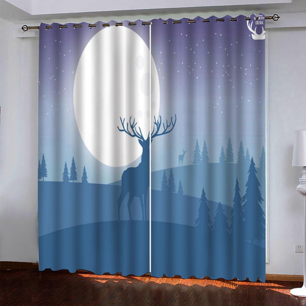2021 3D Window Занавес Животное Европейская Гостиная Спальня Спальня Драпыты Лечение Кухонная дверь