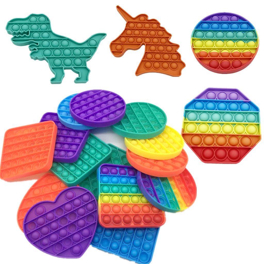 Rainbow Push Pop Fidget Сенсорные игрушки Пузырь Poppers Доска Динозавр Простое Кольцо Ключ Кольца Сжатие Пальца Головоломки сжимают a-bean Popper Стресс Tiktok G32502