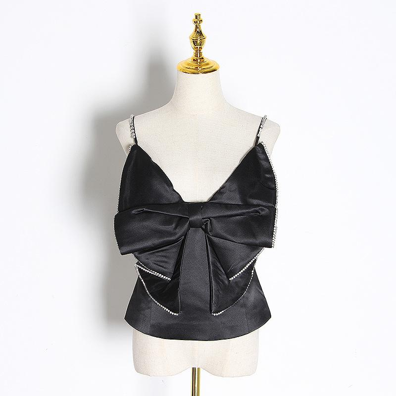 Moda de la primavera de las mujeres 2020 Bow Diamond Chalt Sexy sin mangas camiseta