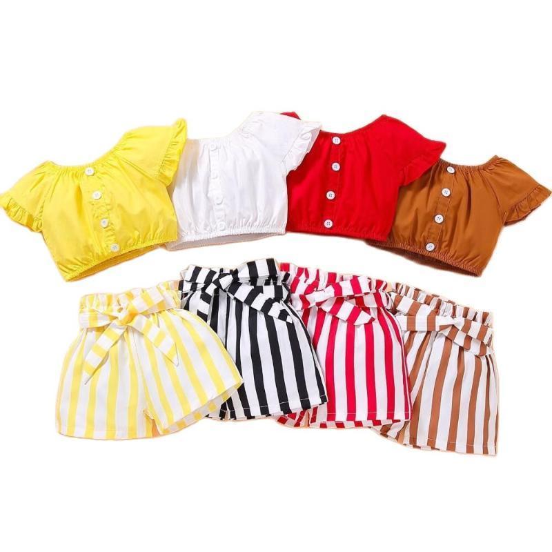 Baby Mädchen Sommer Kleidung Mode Kleinkind Kind Kleidung Sets Off Schulter Tops Gestreifte Shorts Outfits Kind Set 2 3 4 5 Jahr