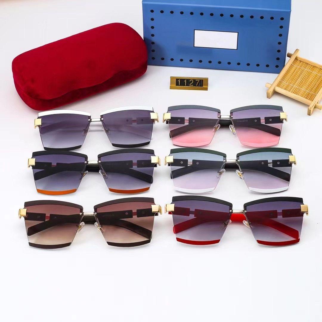 여성 G 6 선글라스 금속 빈티지 패션 스타일 선글라스 광장 프레임리스 UV 400 렌즈 패키지 클래식 스타일