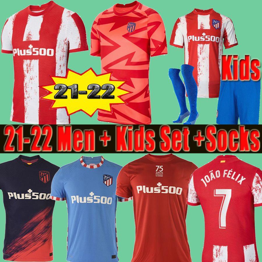 21 22 JOÃO FÉLIX Atletico Soccer Jerseys de Madrid pre match training shirts 2021 2022 Suarez CORREA KOKE Dembélé Carrasco M.LLORENTE Men Kids Kit football jersey