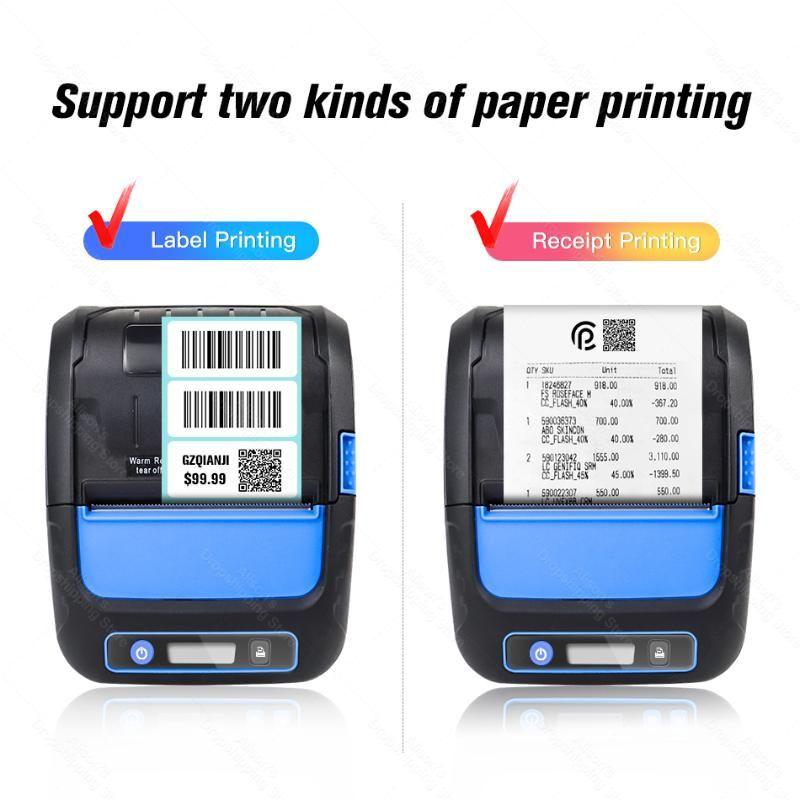 휴대용 블루투스 프린터 라벨 스티커 미니 열 무선 전화 영수증 2 in 1 Barcode 58mm 프린터