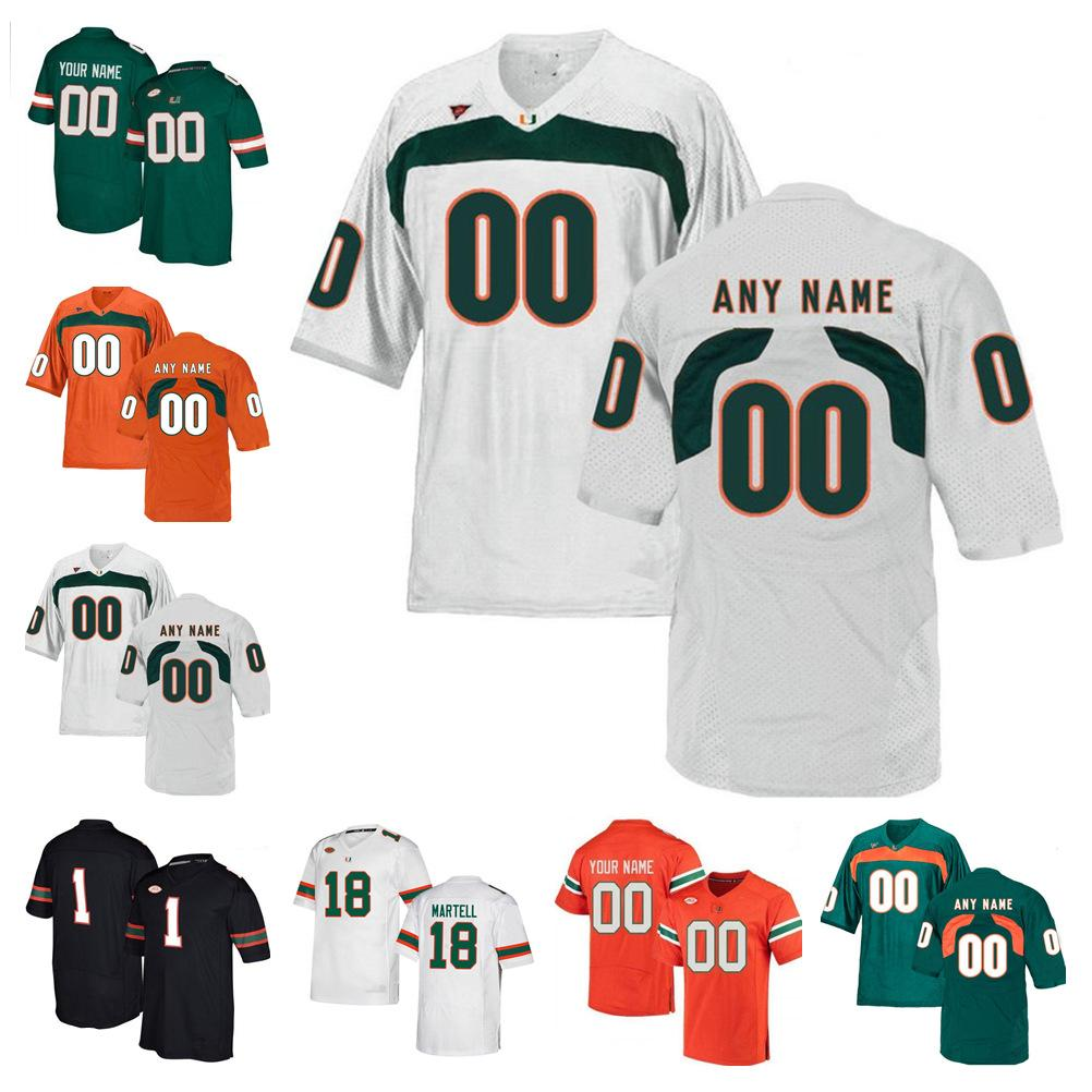 2021 NCAA 마이애미 허리케인 저지 저지 Dwayne Johnson Jimmy Graham Jim Kelly Devin Hester Frank Gore College Football Jerseys Custom Stitched