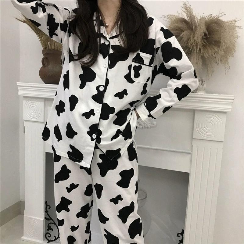 Корова Print Pajamas для женщин Симпатичные Домашний Костюм Пижамы Набор пижамов Женская Домашняя одежда Pijama Mujer Домашняя одежда для женщин 210326