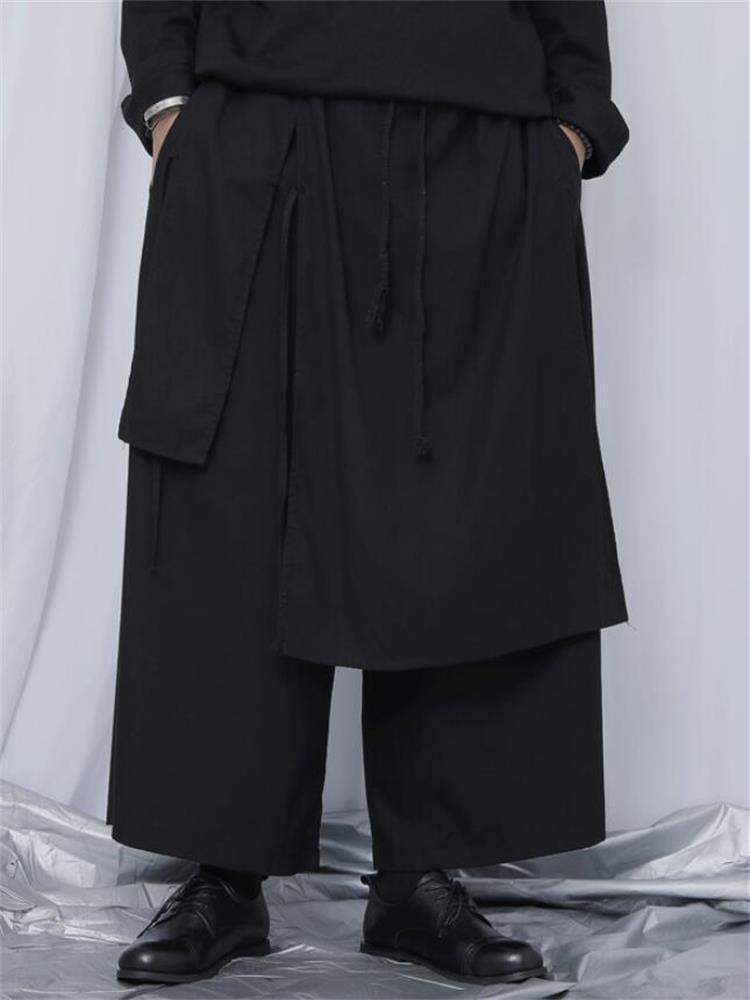 Erkek pantolon erkekler eklenmiş geniş bacak ilkbahar ve sonbahar saç stilisti rahat gevşek klasik koyu moda büyük boy dokuz
