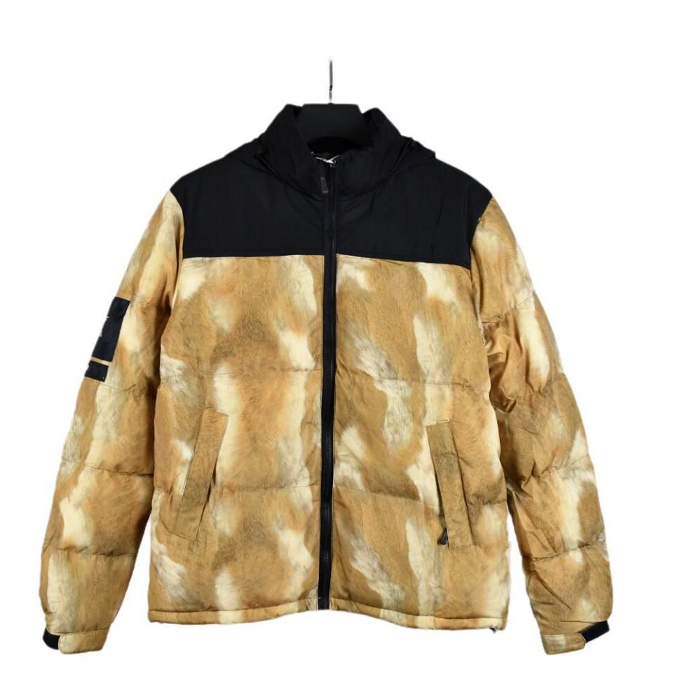 Mens Stylist Coat 잎 인쇄 파카 재킷 남성 여성 겨울 오버 코트 다운 재킷 사이즈 S-2XL JK005