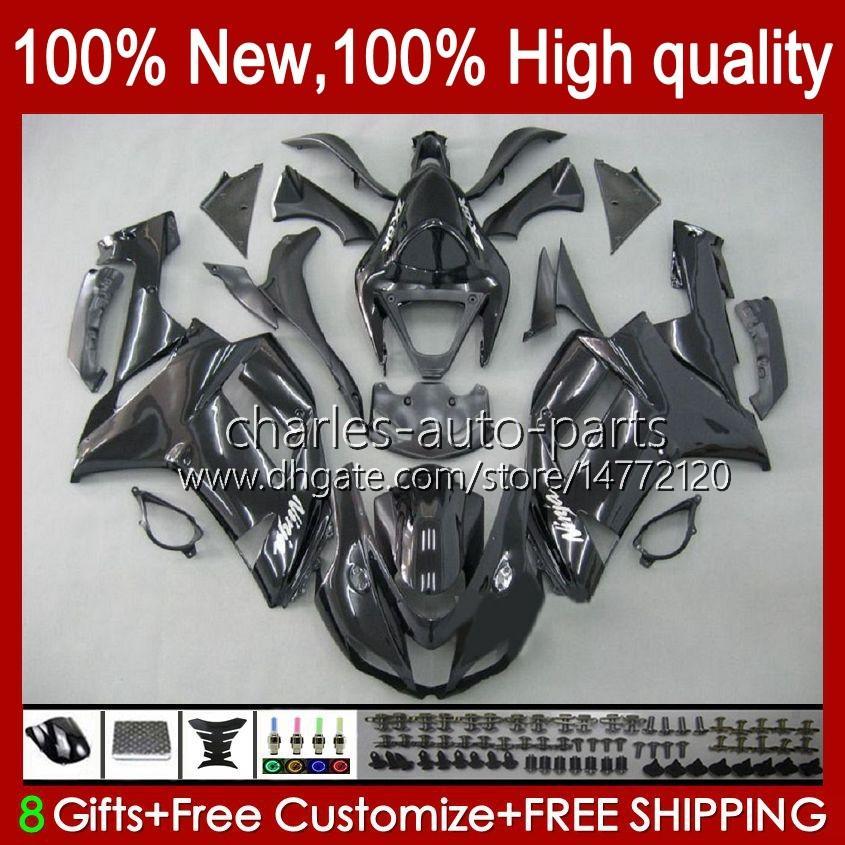 Bodywork For KAWASAKI NINJA ZX 636 600 CC ZX600 ZX-636 ZX-600 Motorcycle Body 10No.1 ZX 6R 600CC 6 R ZX6R 07 08 ZX-6R ZX600C 2007 2008 ZX636 07-08 Fairing Kit glossy black