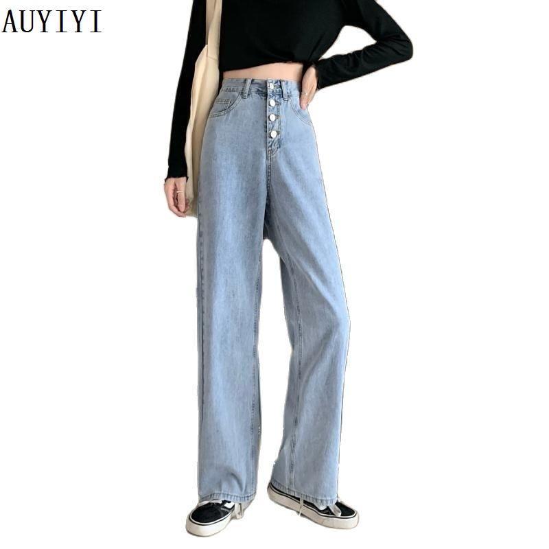 Jeans da donna JXMYY Spring e autunno moda stile retrò in vita alta a vita alta color street slim dritte ampie donne