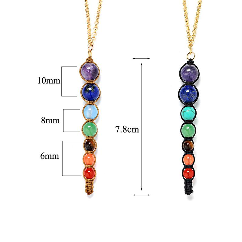 Natural Crystal Stone Pendant Necklaces Colorful Seven Chakra Stones Necklace Yoga Healing Balance Bead Fashion Accessories