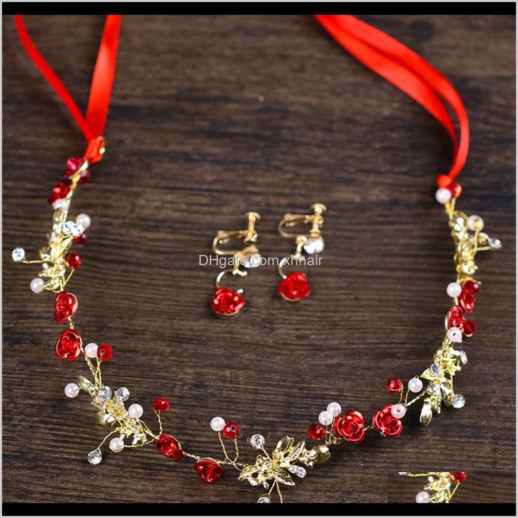 Инструменты Продукты Drop Доставка 2021 Булавки Красные Цветочные Волосы Band Bridal Платье Сея Серьги NVQWO