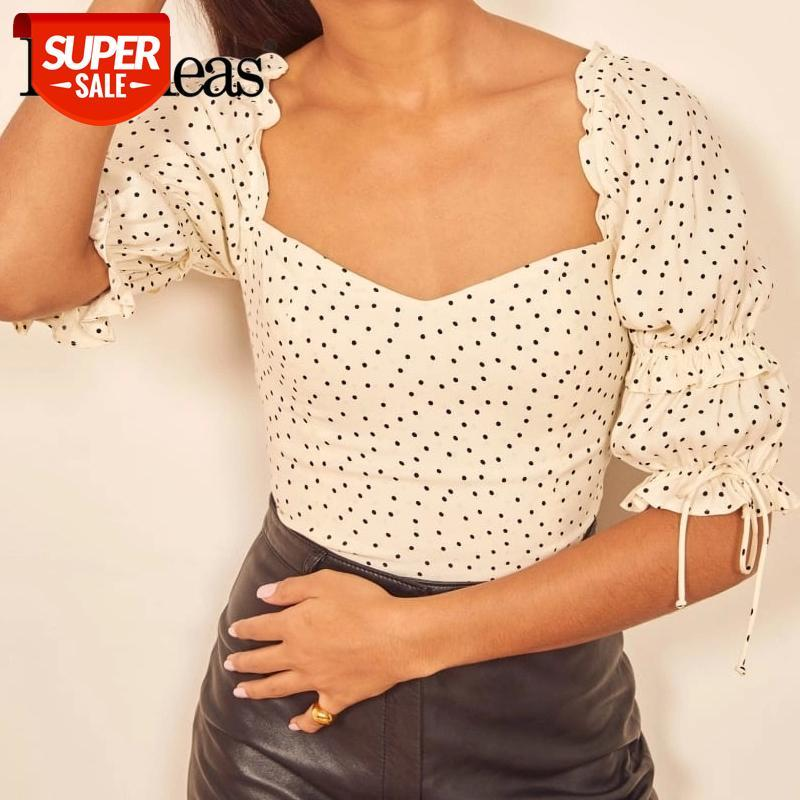 Blusa de creme vintage harajuku babados ropa mujer moda ponto impressão blusa mulheres elegante meia manga top # ul9k
